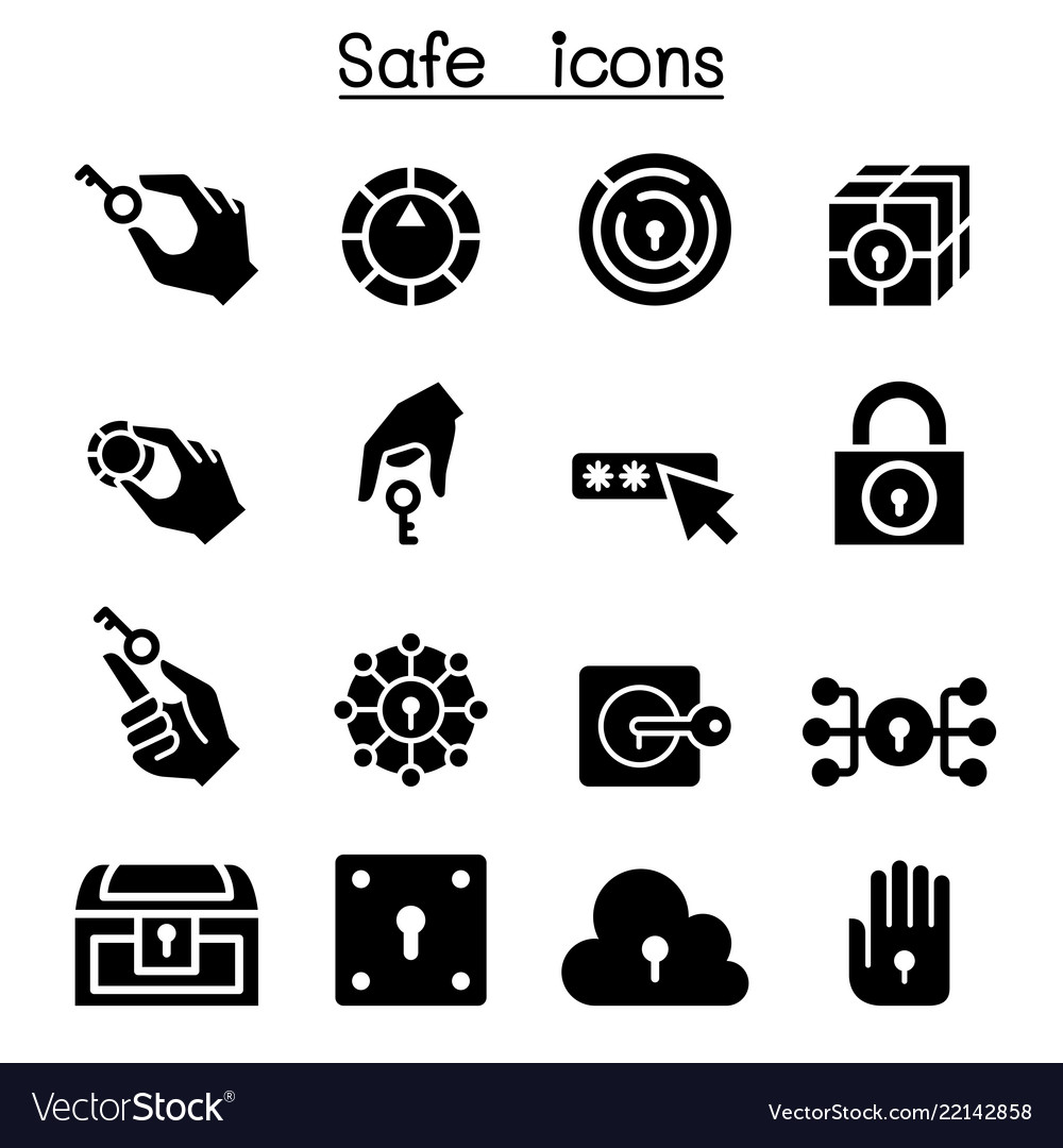 Key and lock system icon set
