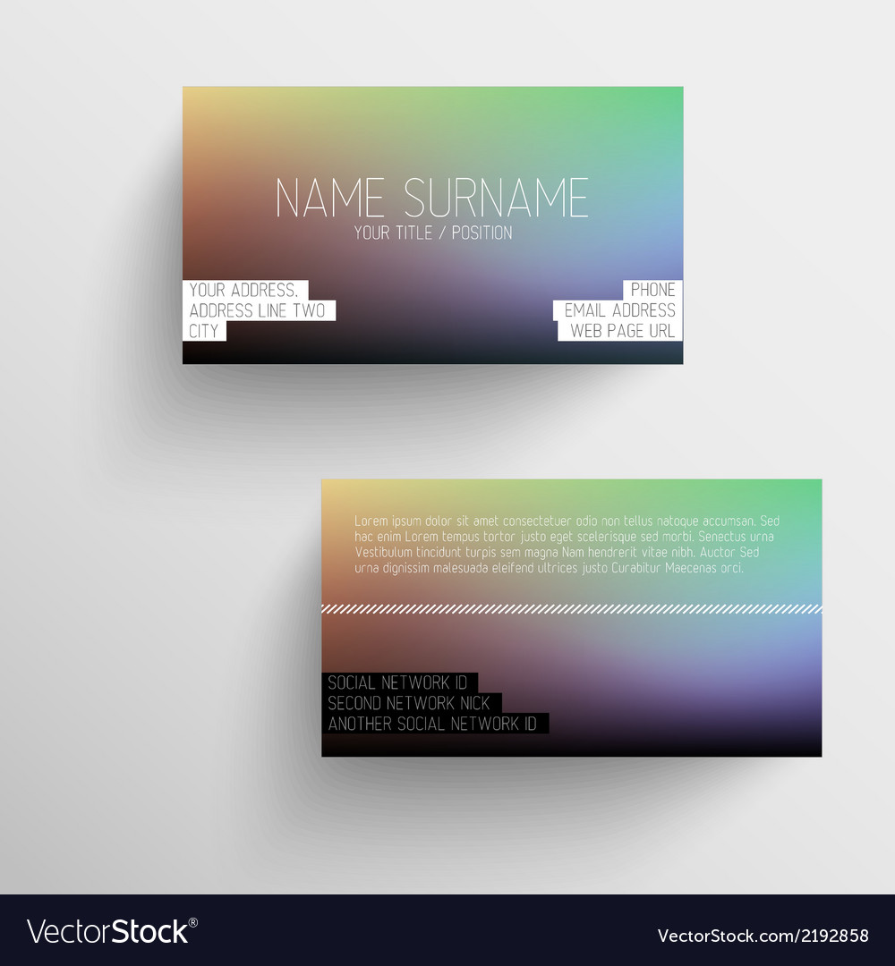Modern business card template with blurred