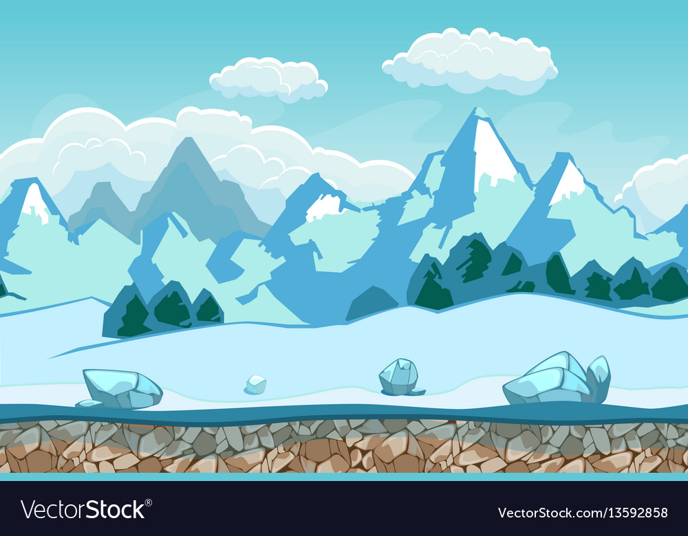 Seamless background with winter landscape