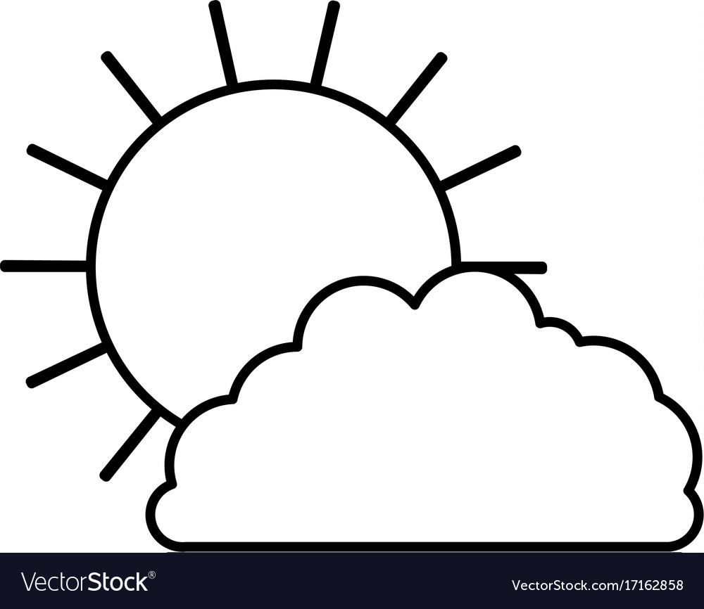 sun and cloud monochrome silhouette royalty free vector