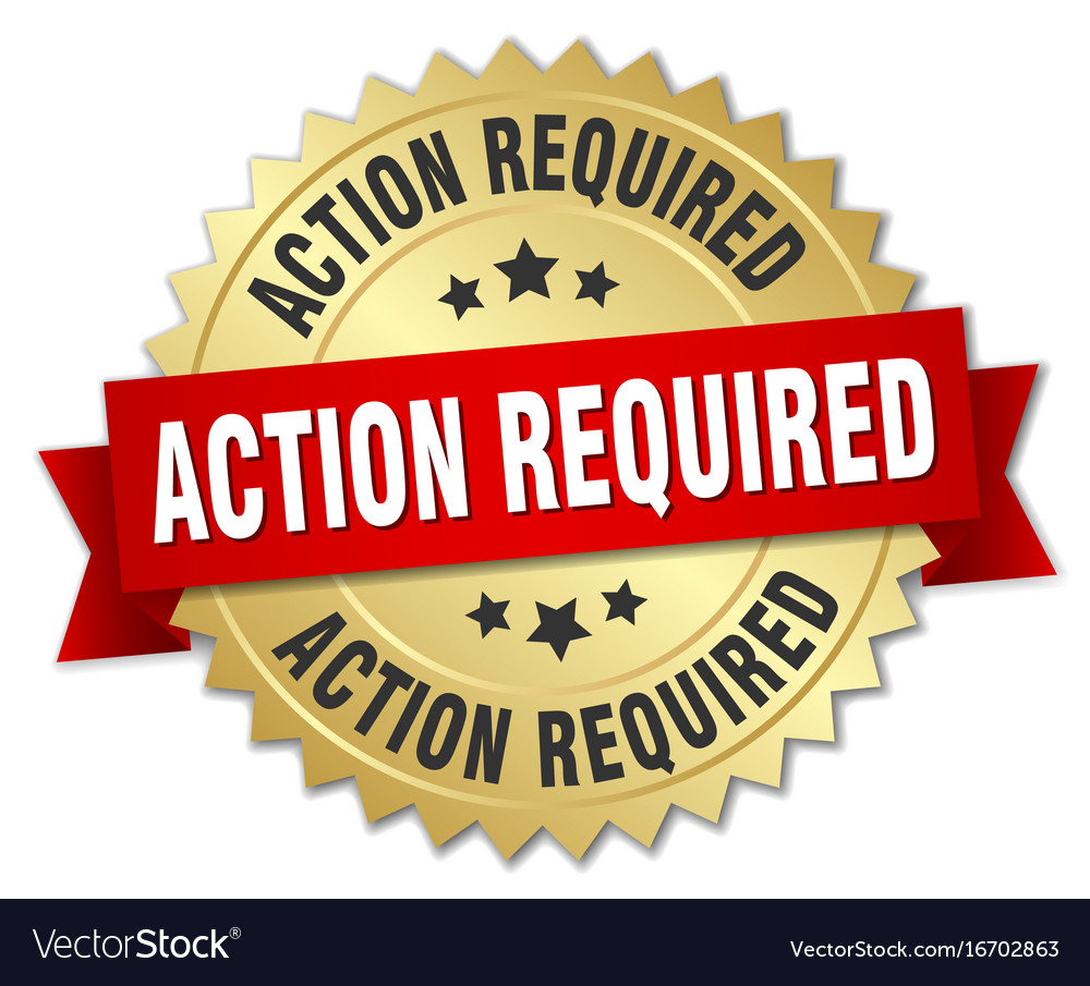 Action required round isolated gold badge