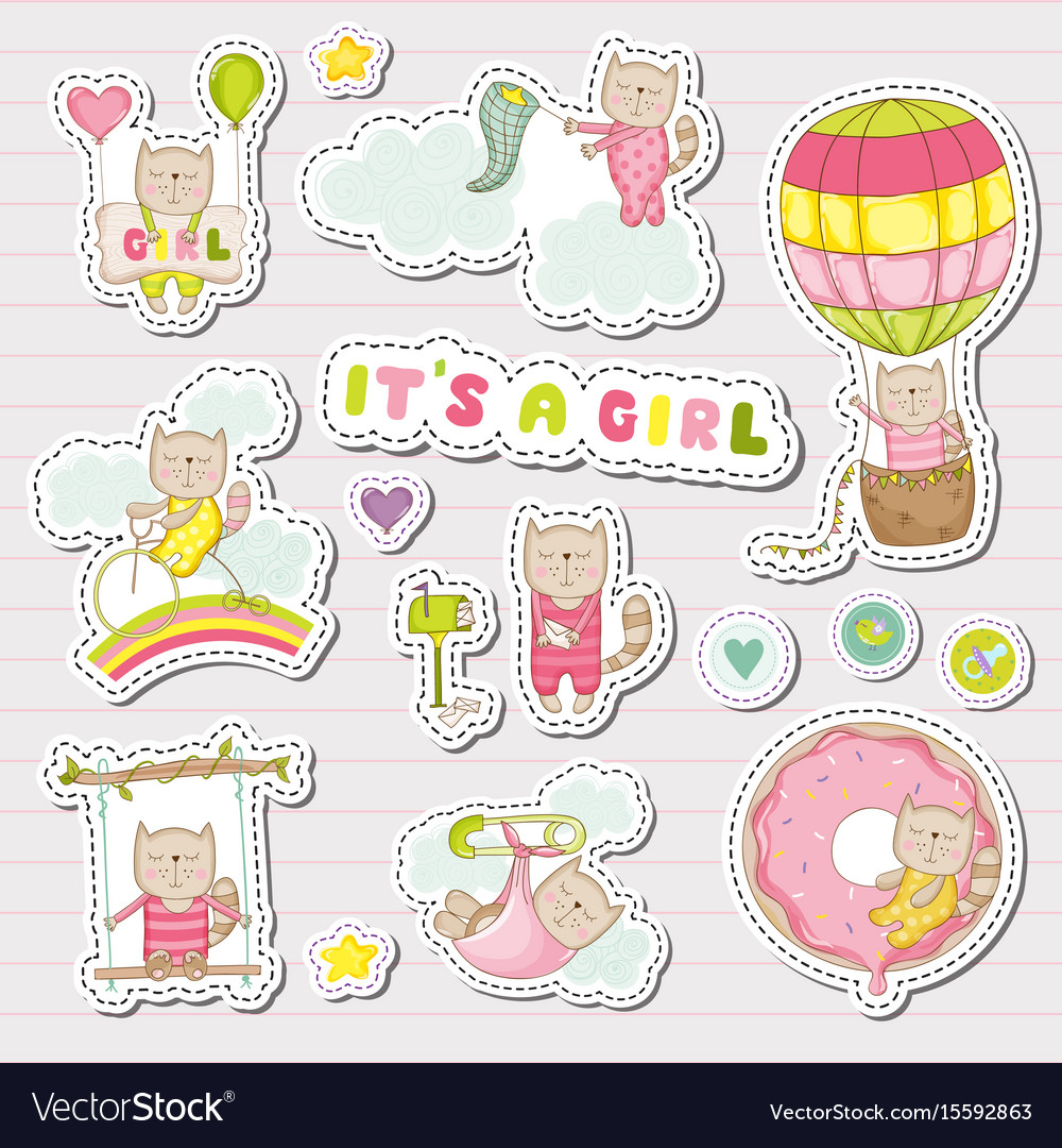 Baby girl stickers for baby shower party vector image