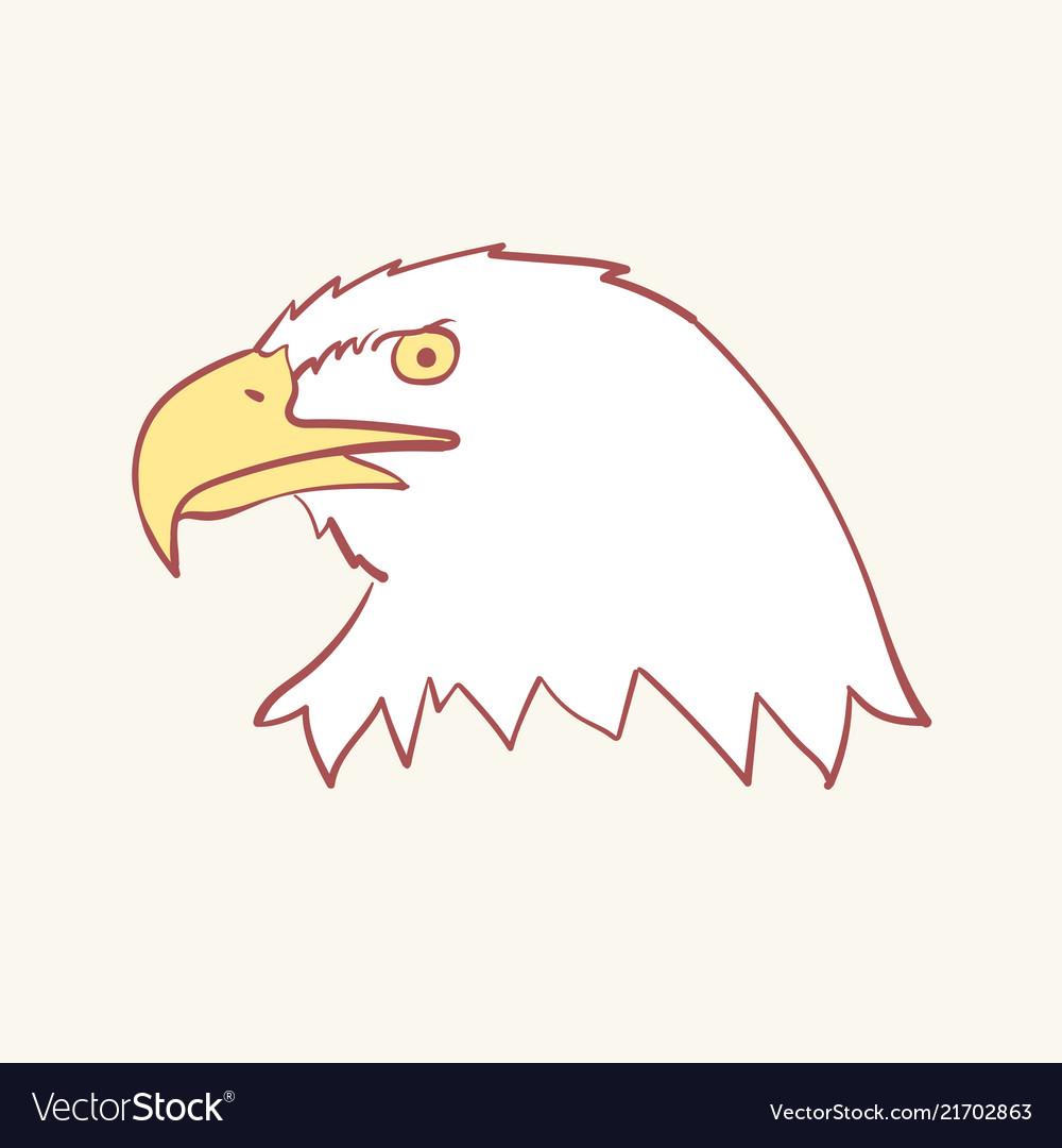 Bald american usa eagle mascot hand drawn style