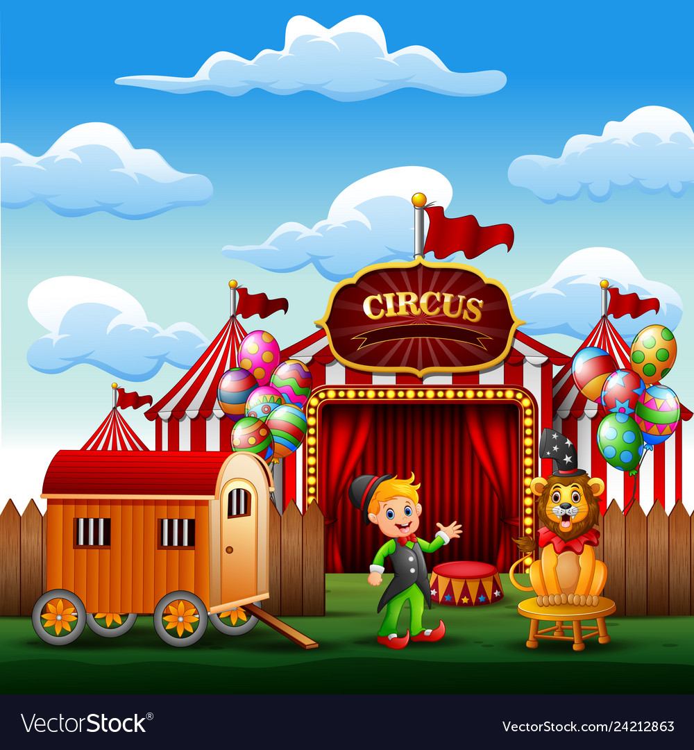 Cartoon trainer with a lion on the circus entrance