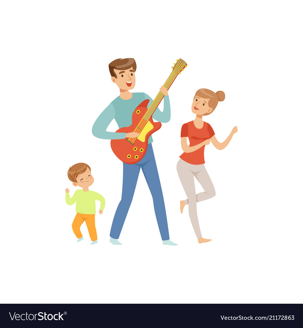 Dad playing guitar while his son and wife dancing