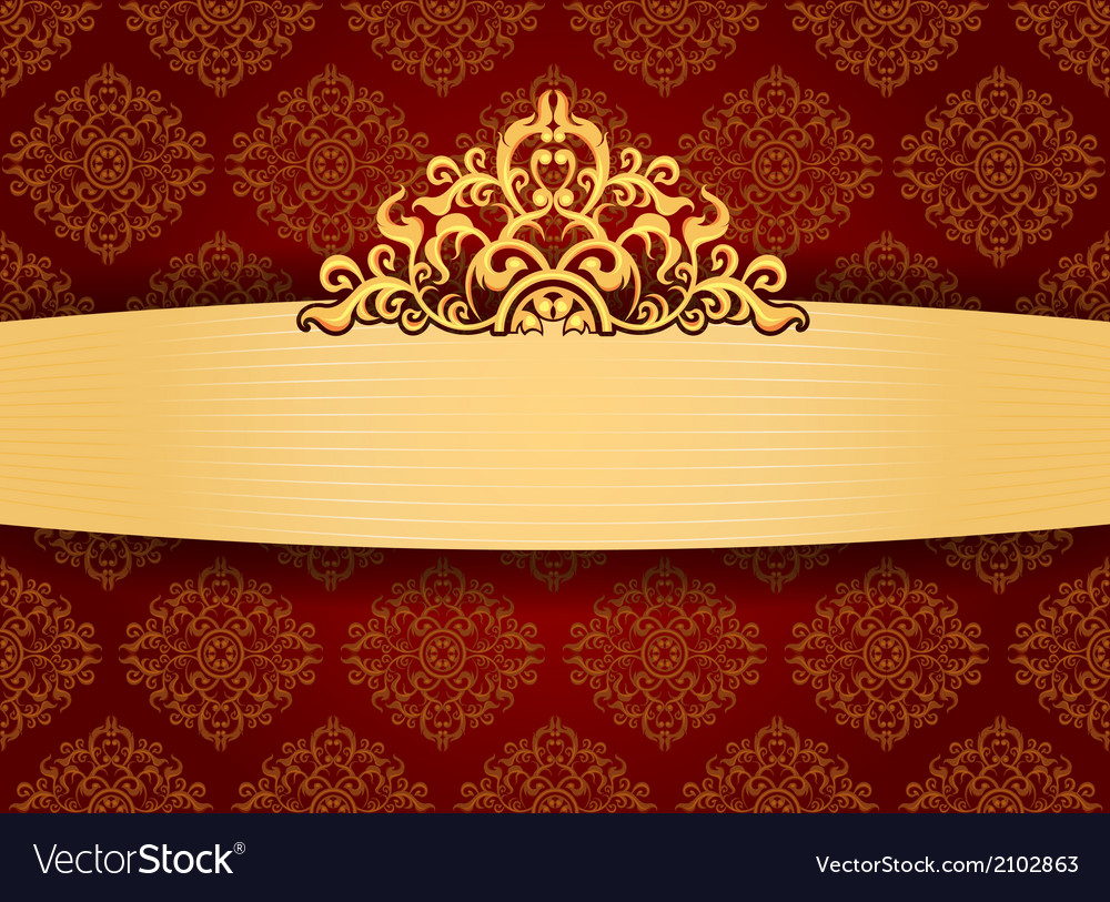 Elegant Gold Frame On Pattern Wallpaper