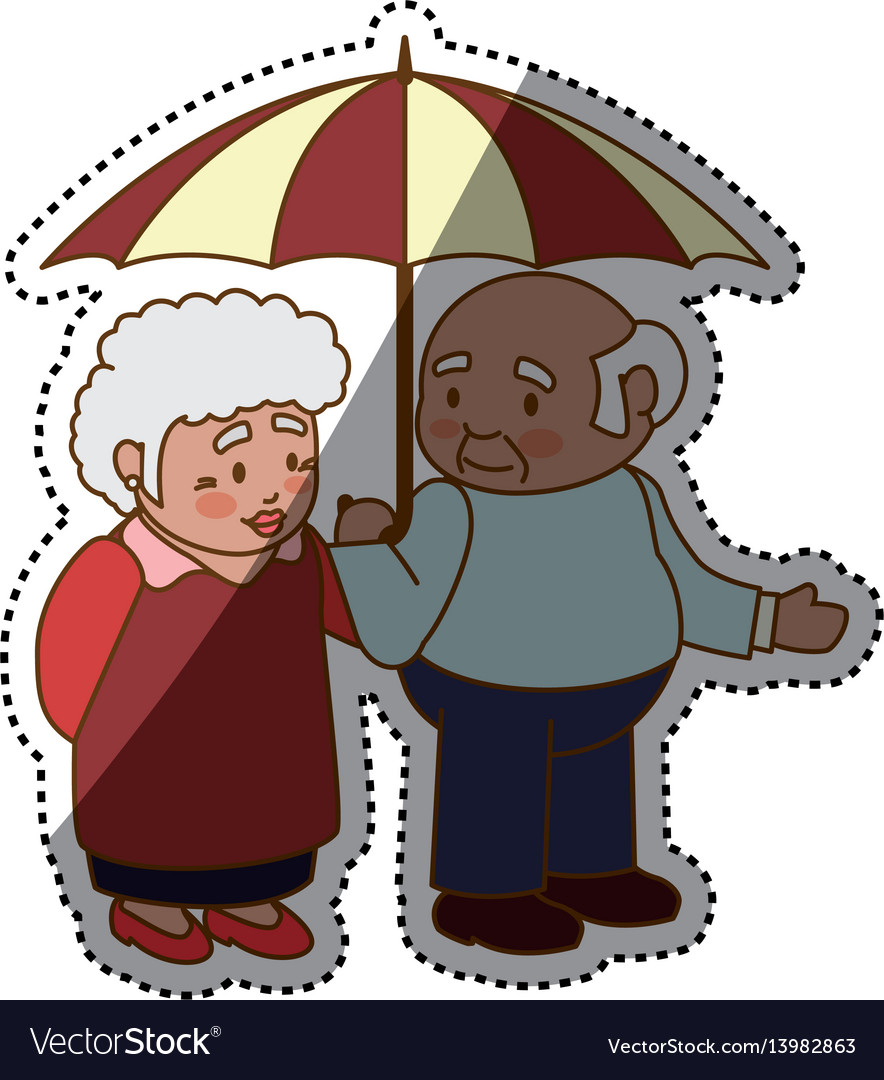 Grandfather and grandmother lovely couple cartoon