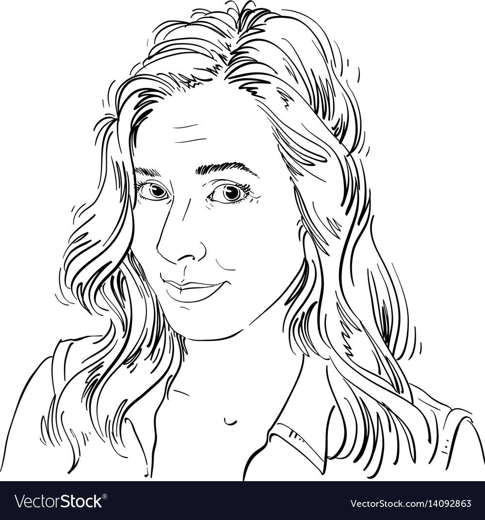 Monochrome hand-drawn image naive young woman
