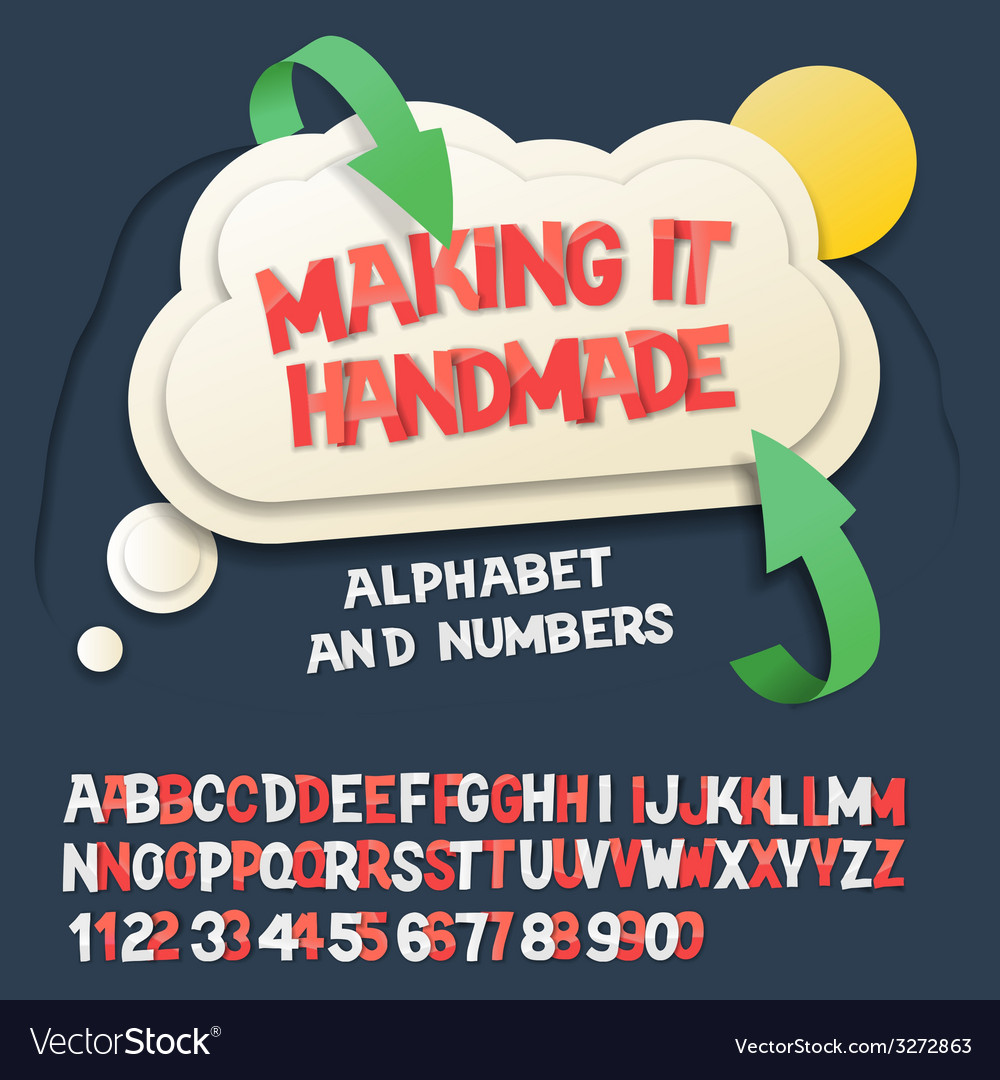 Paper alphabet letters and numbers with cloud