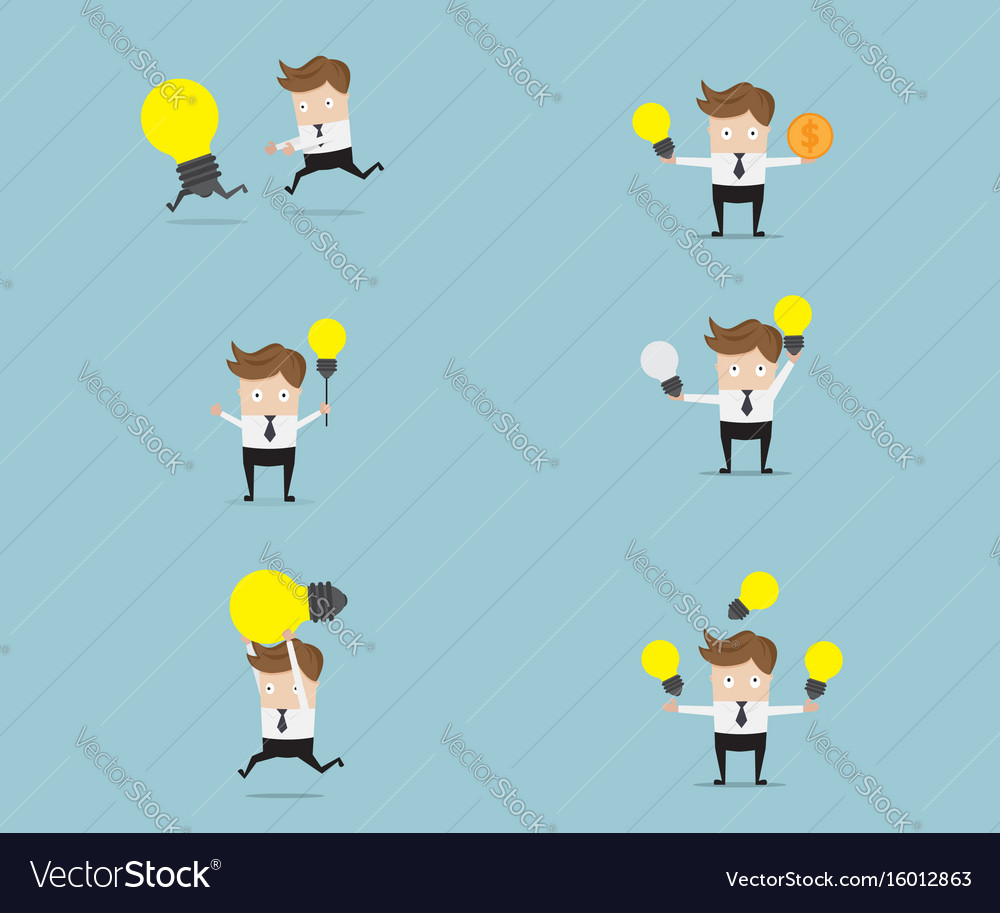 Set of businessman with bulb idea vector image