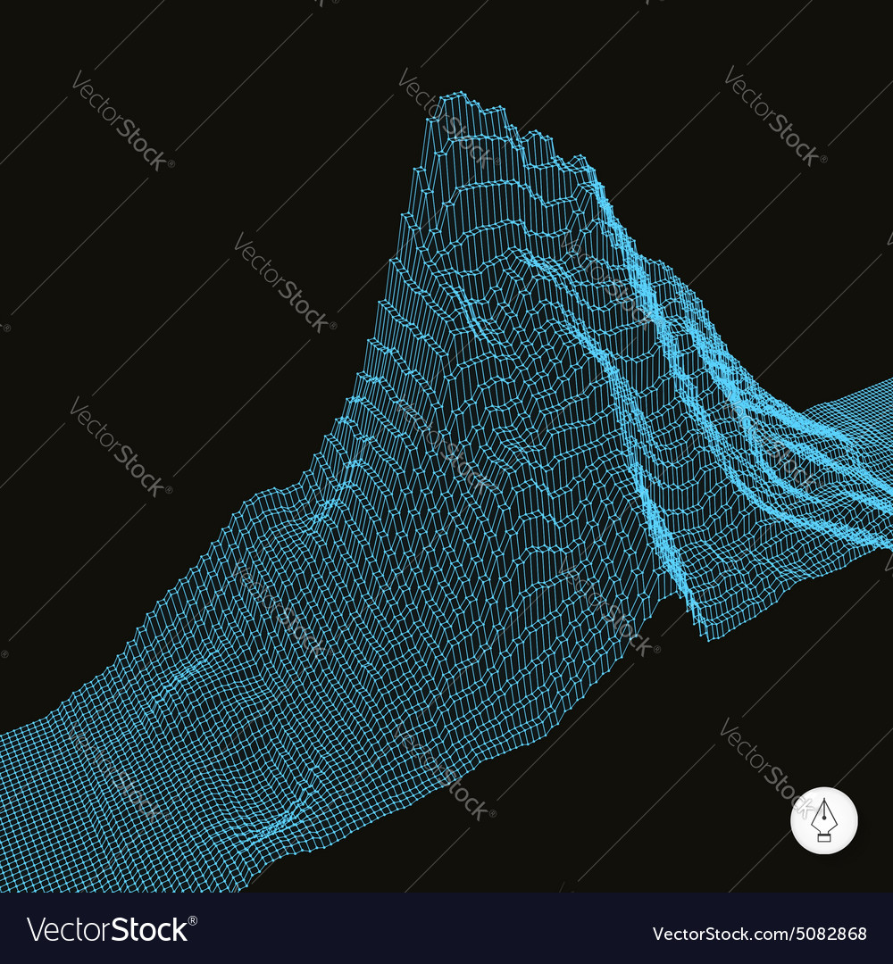 Abstract landscape background Cyberspace grid vector image