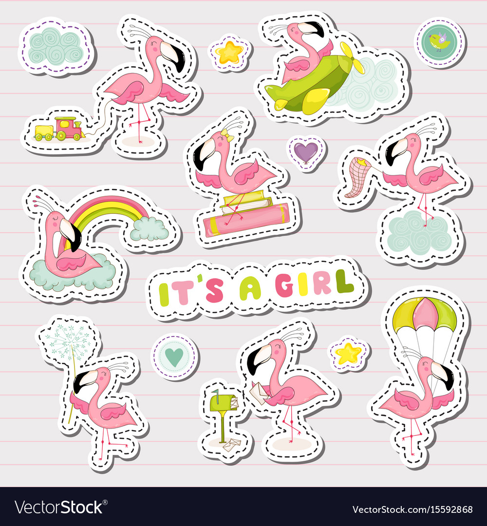 Baby girl stickers set for baby shower party vector image