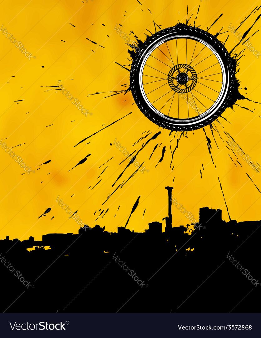 Bike wheel as the sun