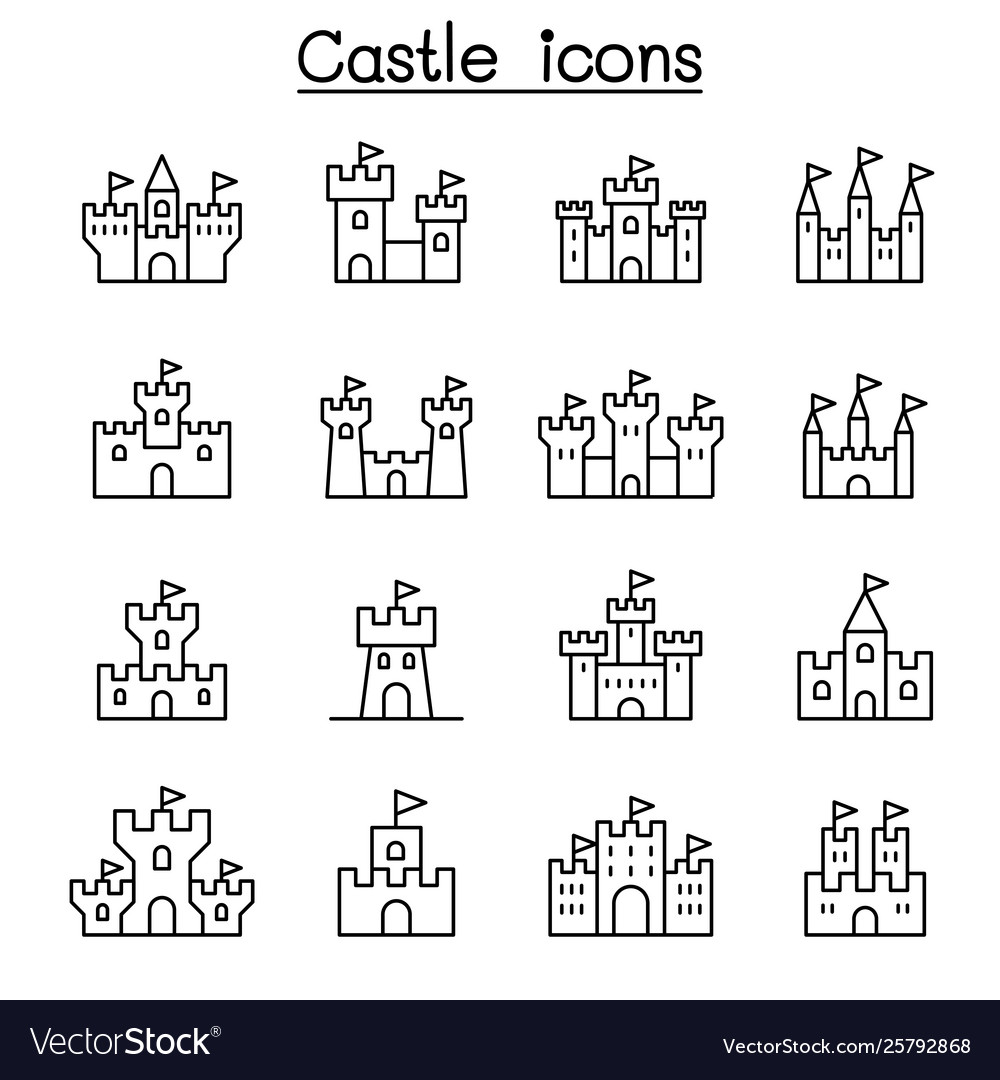 Castle palace icon set in thin line style