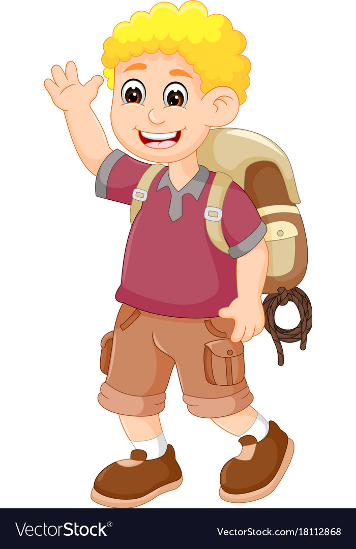 Cute backpacker cartoon posing with laughing