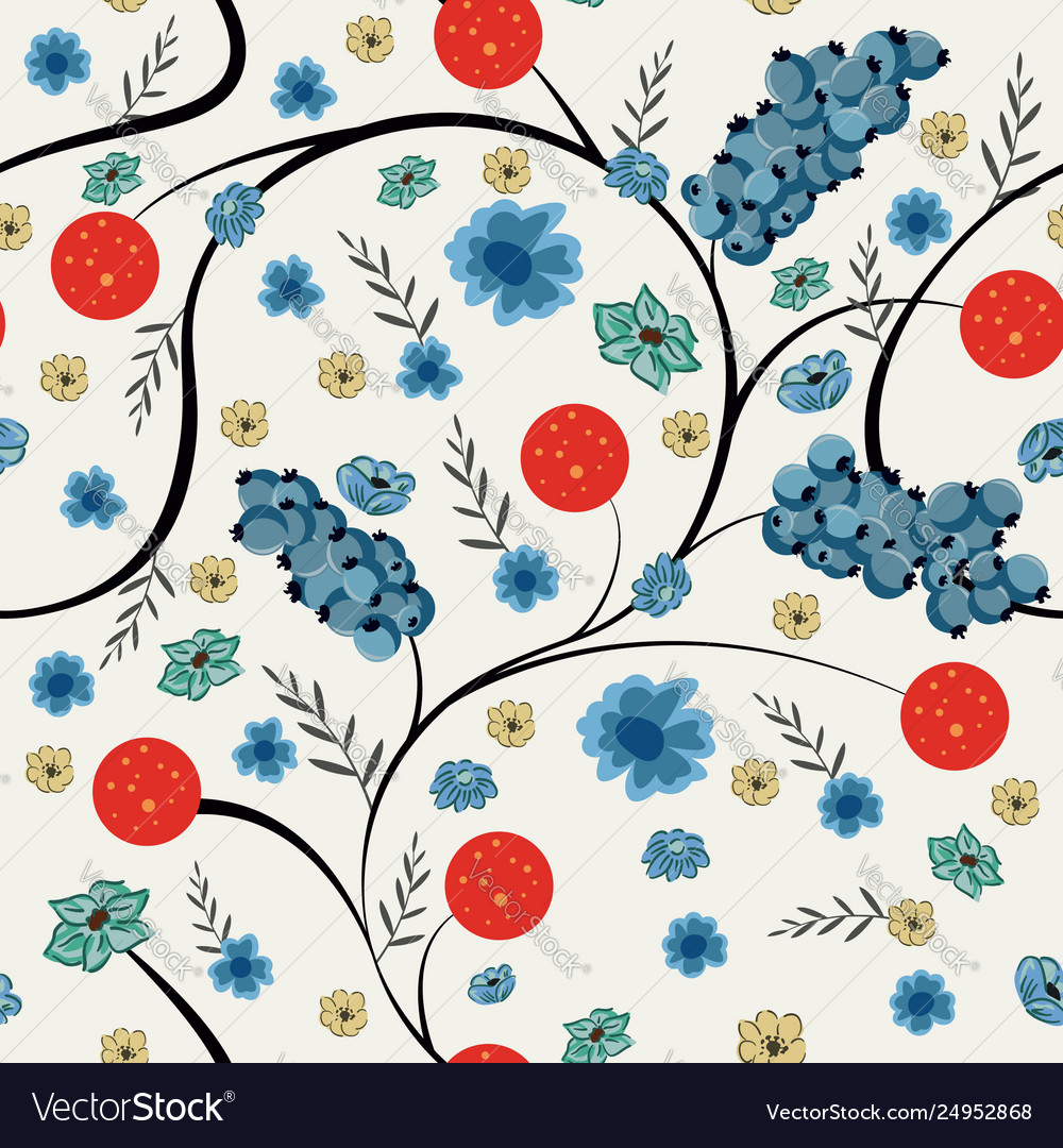 Floral seamless pattern spring flowers