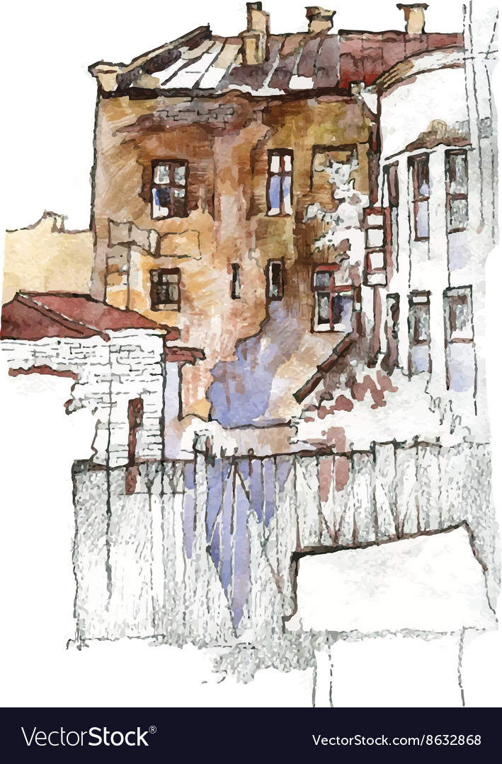 Hand drawn sketch of old street