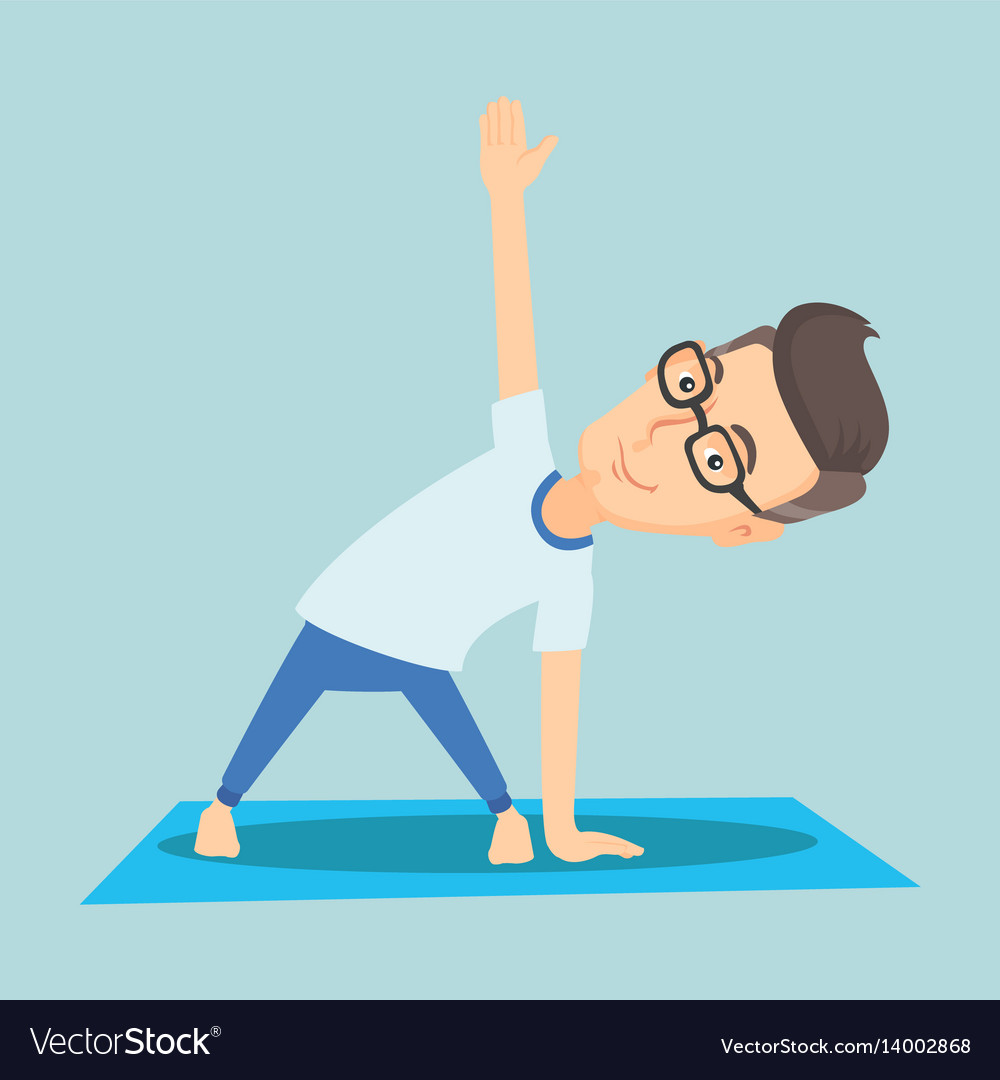 Man practicing yoga triangle pose