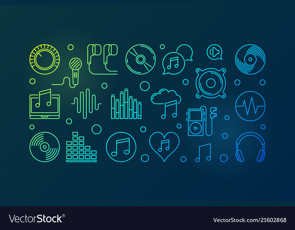 Music colored outline horizontal