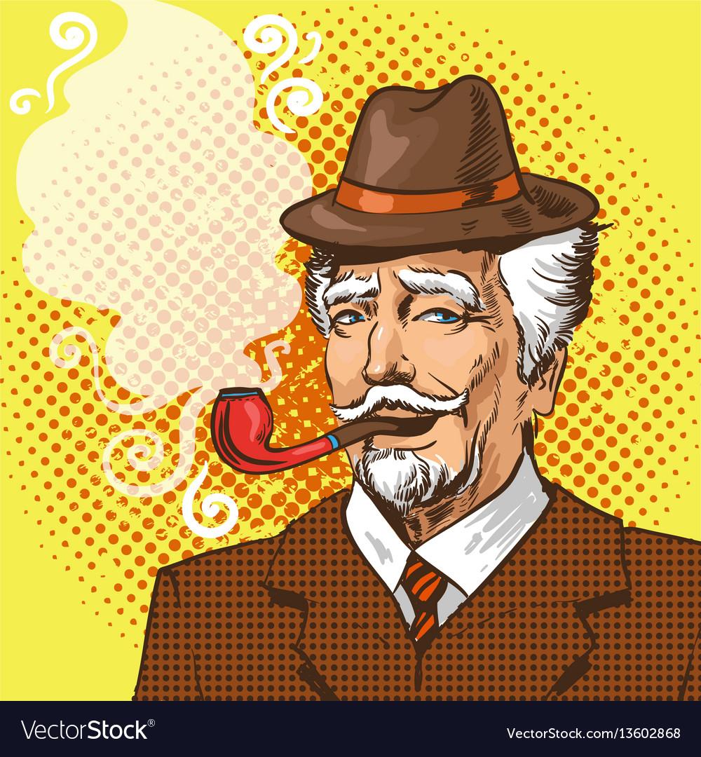 Pop art of elderly man smoking