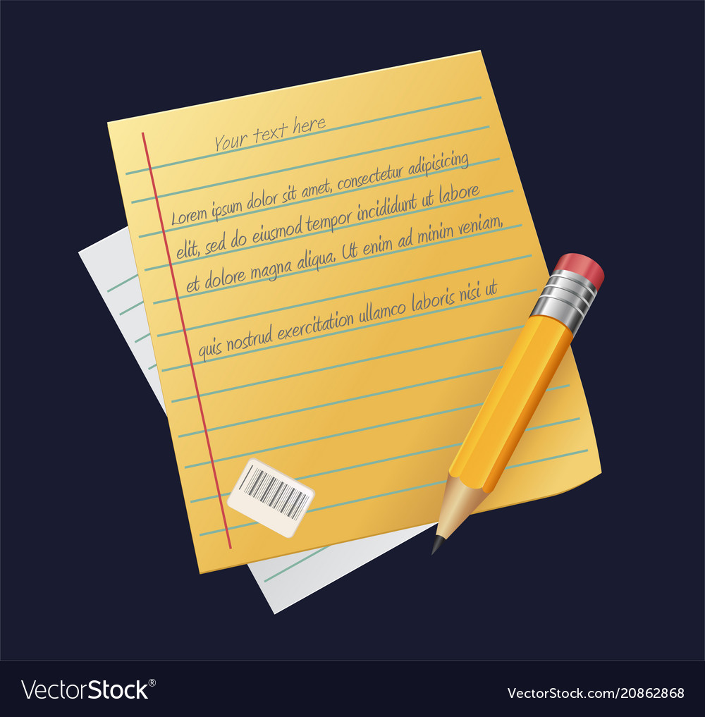 Sheet of paper with pencil writing copywriting