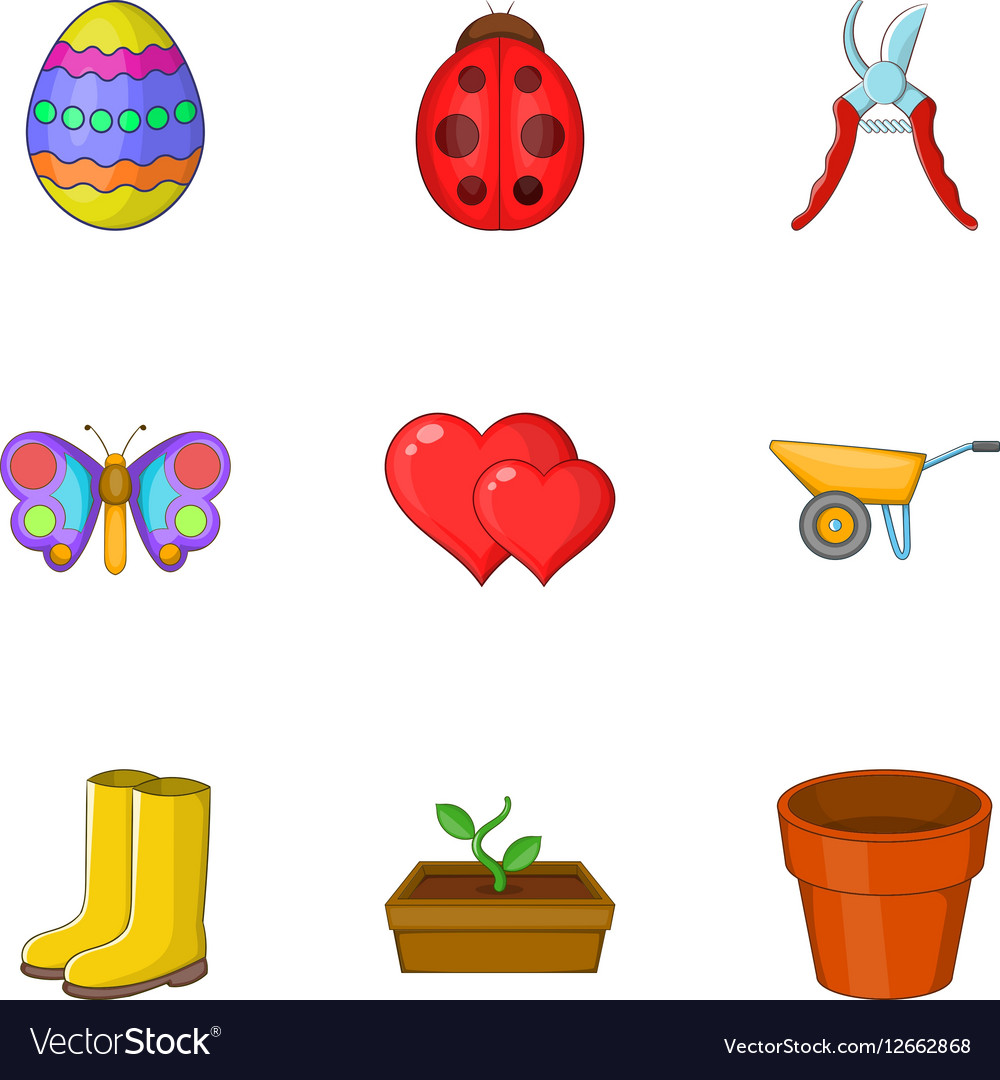 Spring elements icons set cartoon style vector image