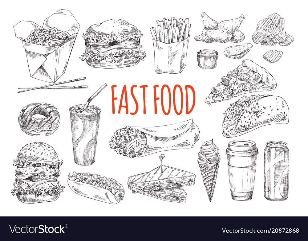 Tasty fast food promotional monochrome poster