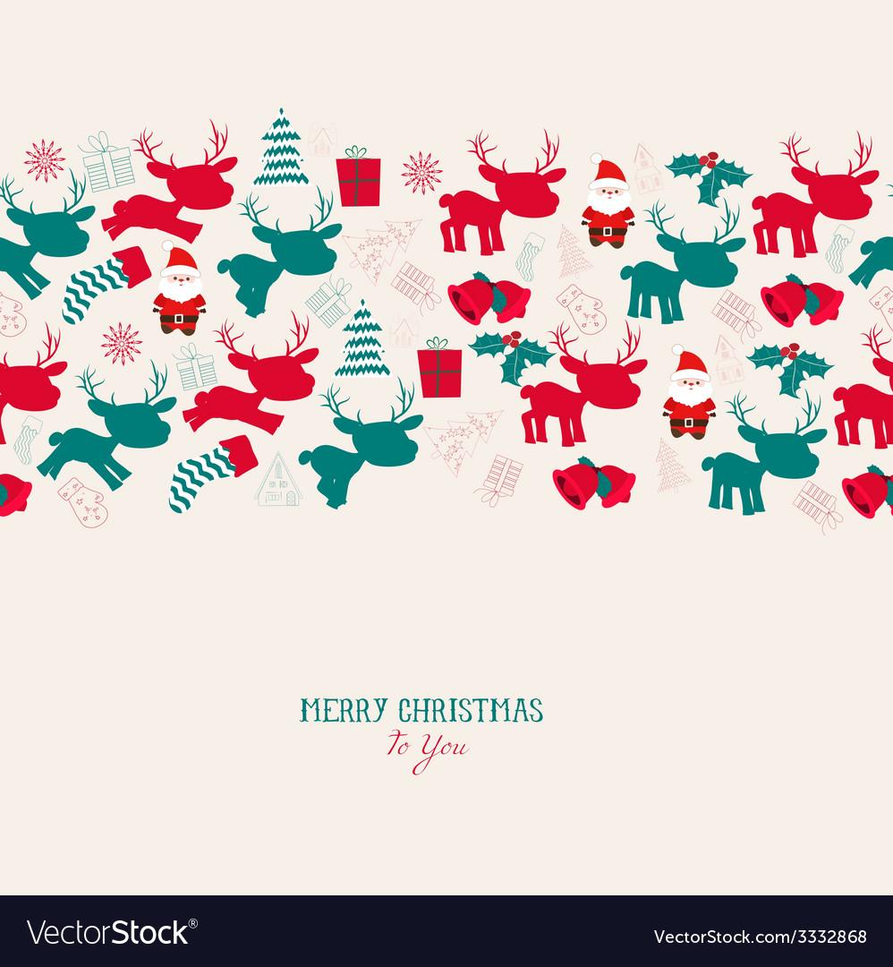 Vintage christmas reindeer seamless pattern