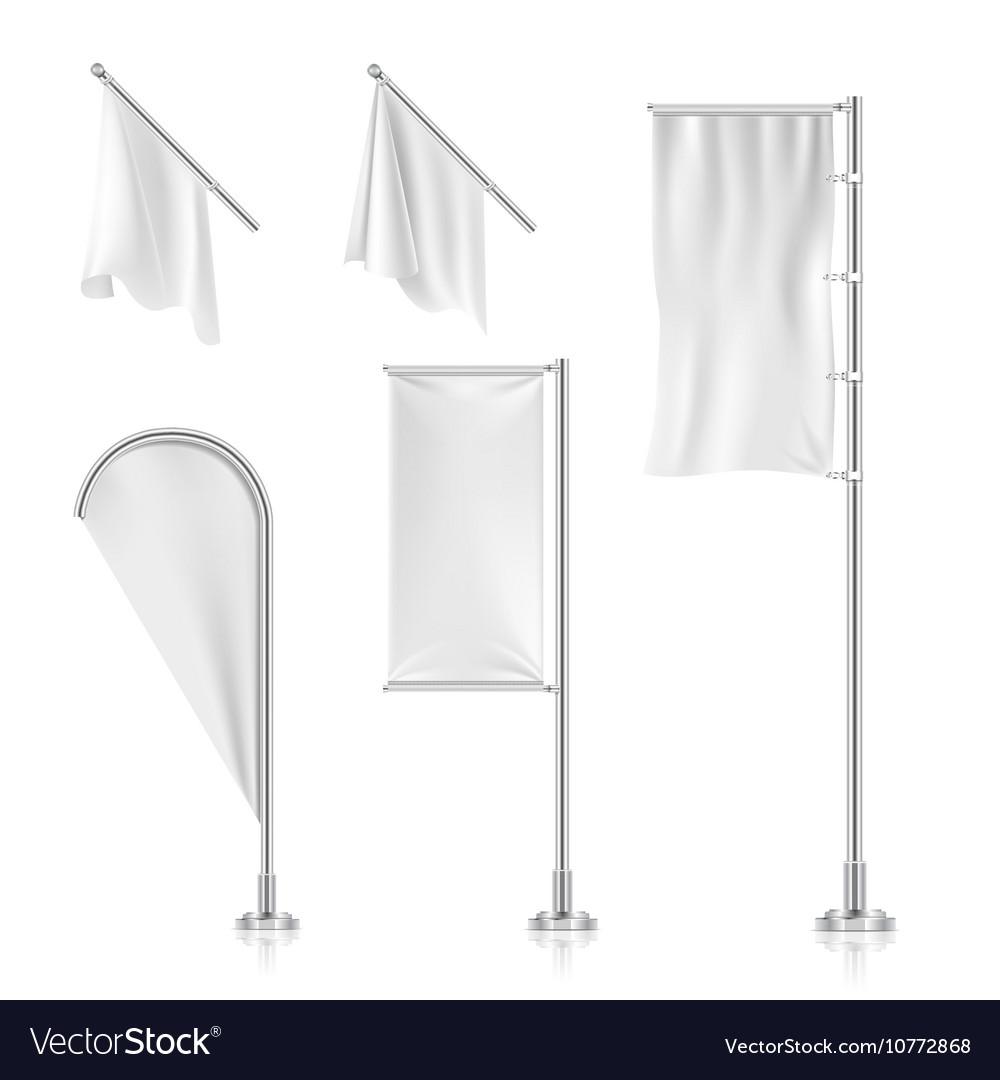 White blank banners advertising beach teardrop