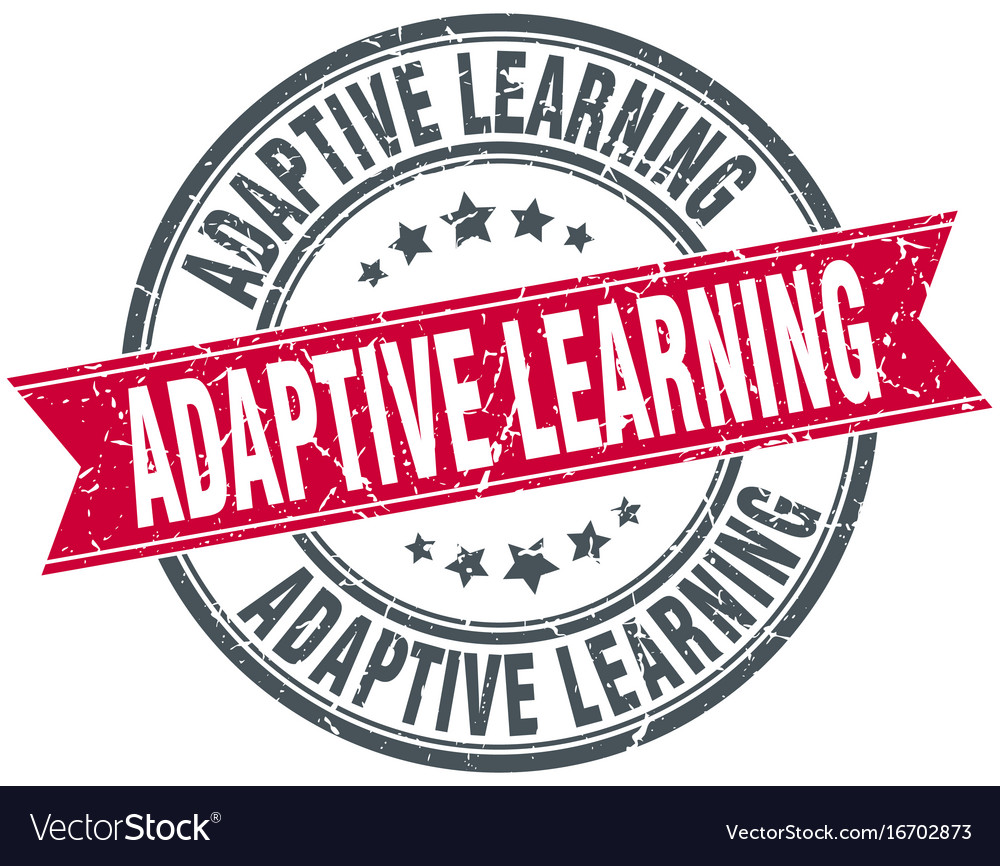 Adaptive learning round grunge ribbon stamp