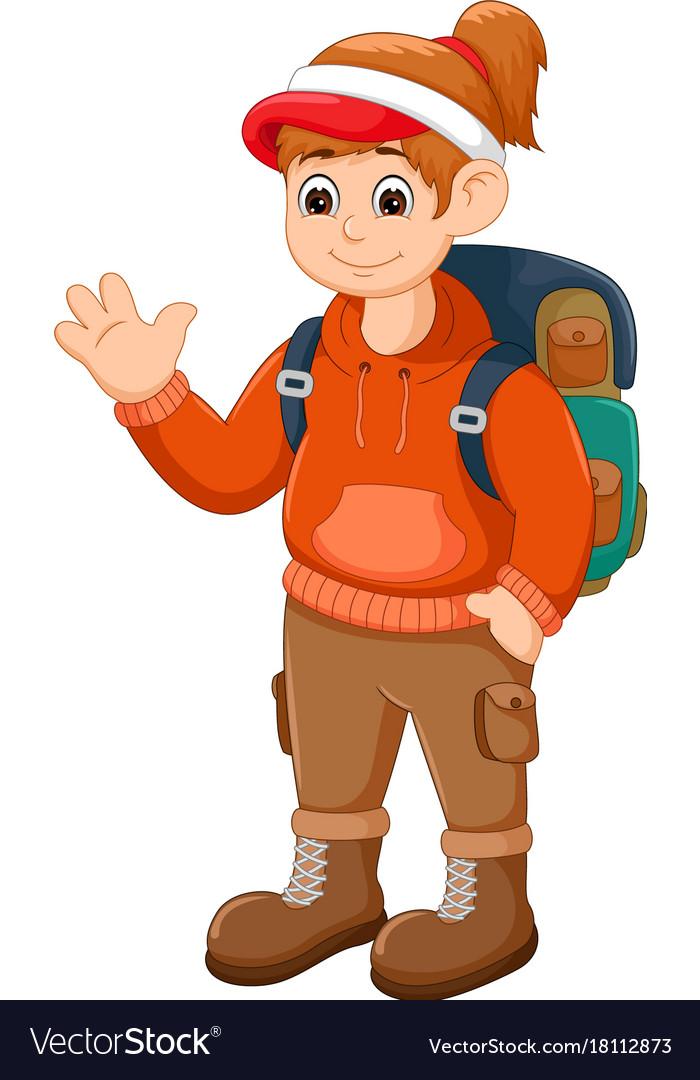 Beauty backpacker cartoon standing with waving