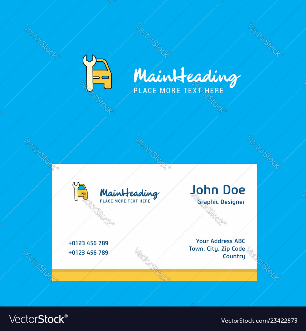 Car Garage Logo Design With Business Card Vector Image