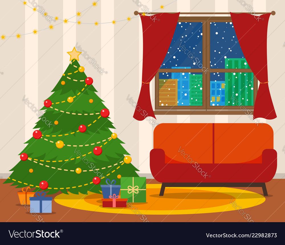 Christmas room interior christmas tree wih sofa