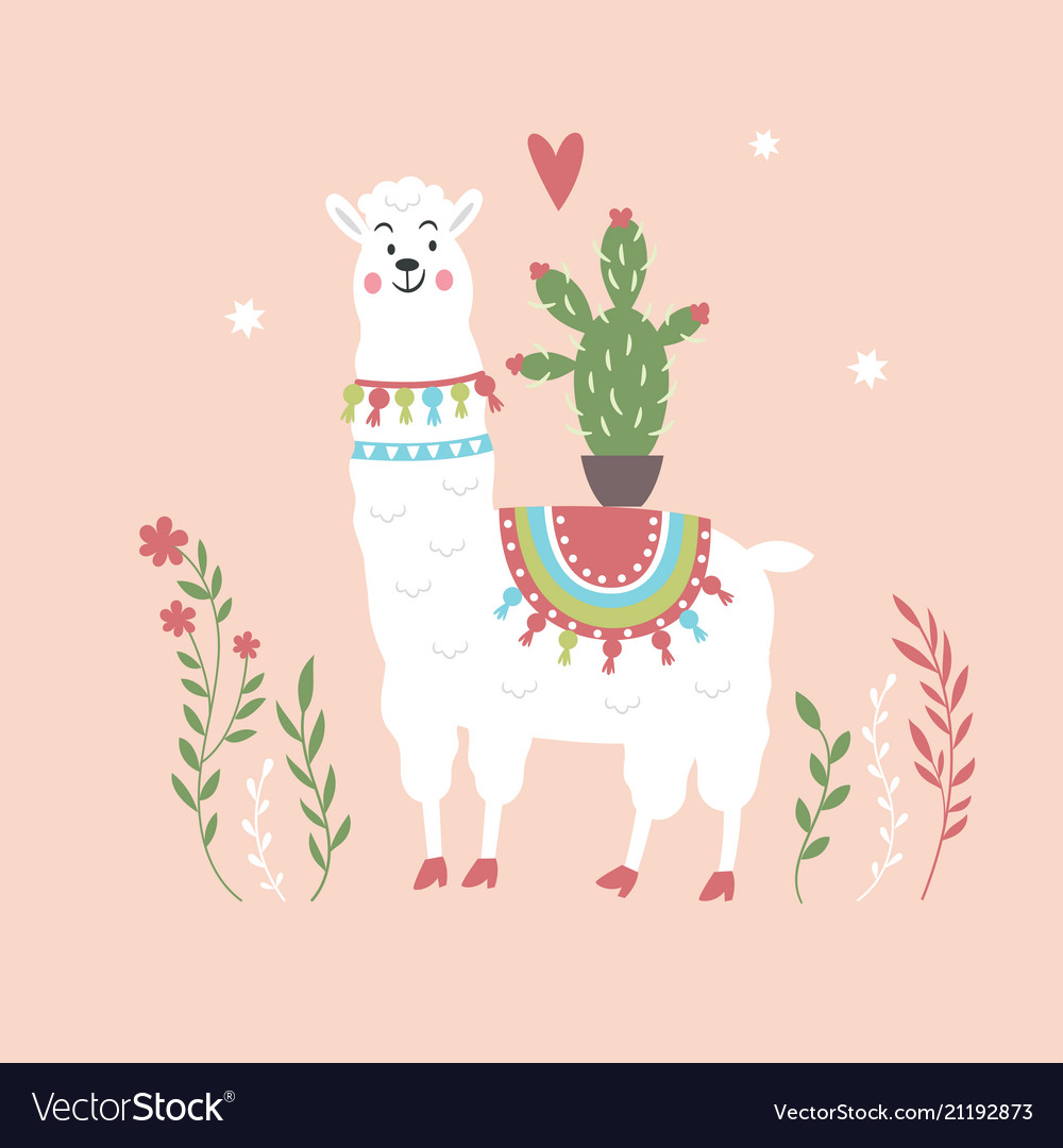 Cute llama with cactus on pink background