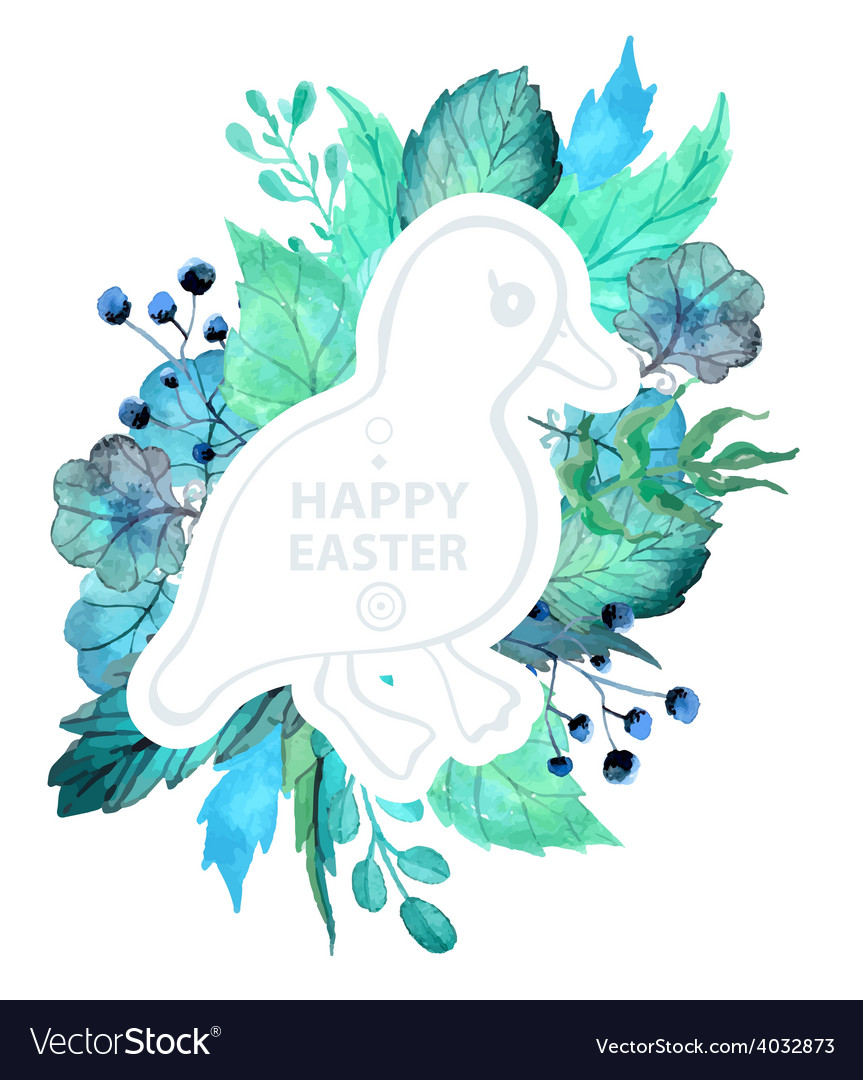 Easter watercolor natural with duckling sticker