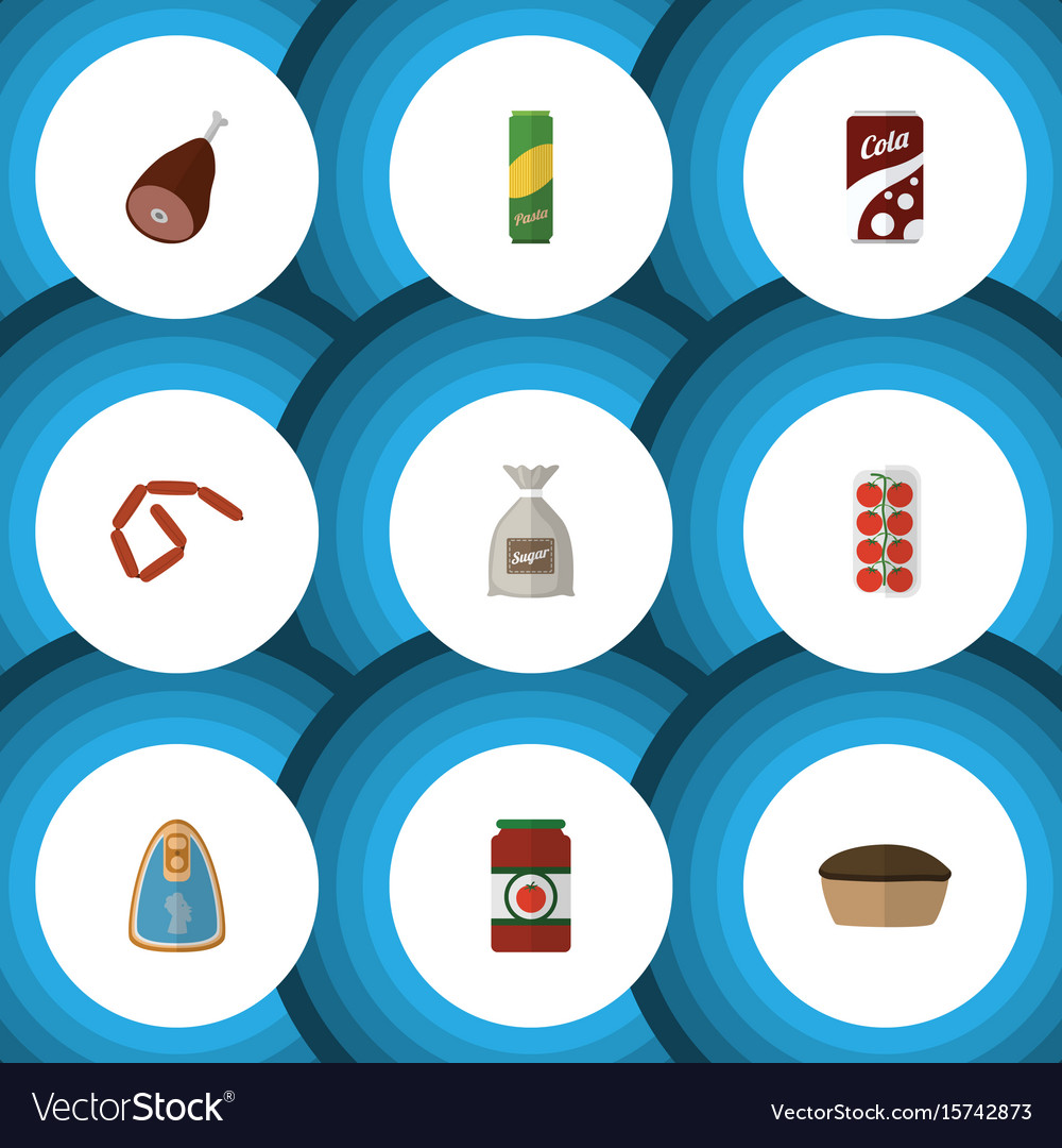 Flat icon meal set of bratwurst sack spaghetti vector image