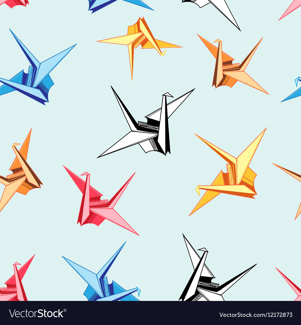 Graphic pattern of origami birds