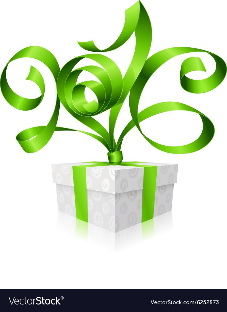 Green ribbon and gift box 2016