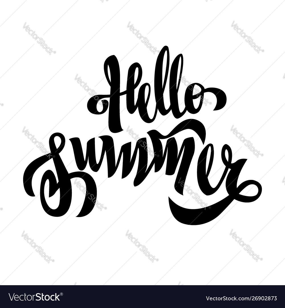 Hello summer black brush handwriting lettering