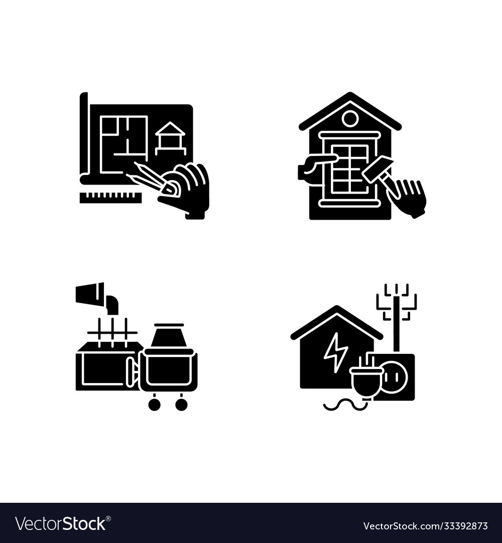 House Foundation Black Glyph Icons Set On White Vector Image