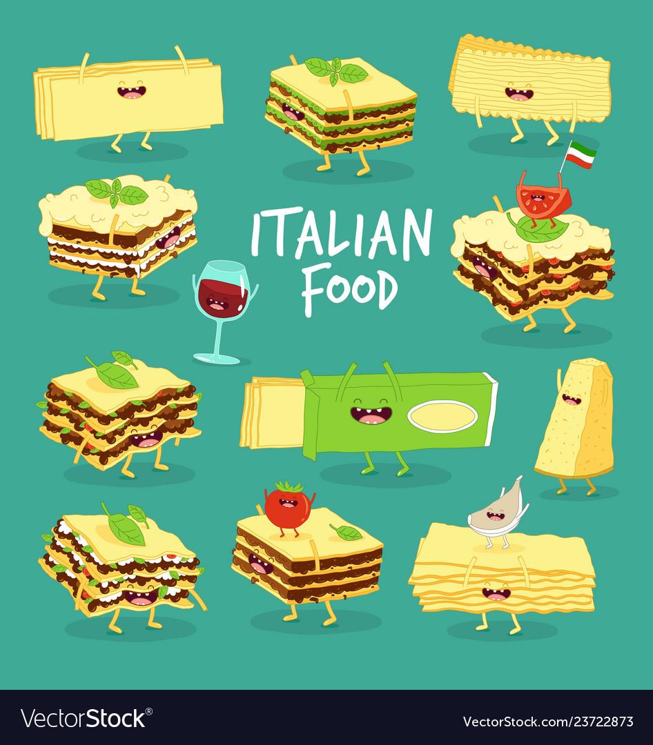 Italian food set lasagna cheese and wine