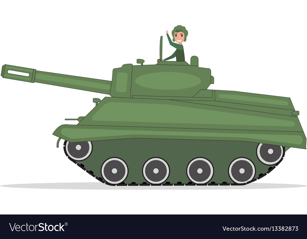 Man tanker traveling on a green tank vector image