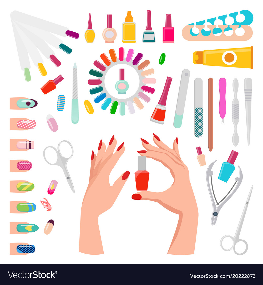 Nail Art Samples And Tools Royalty Free Vector Image
