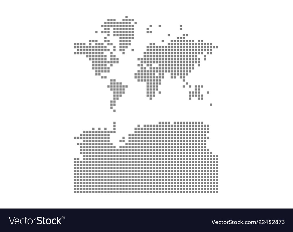 Pixel map of world with antarctica dotted map of