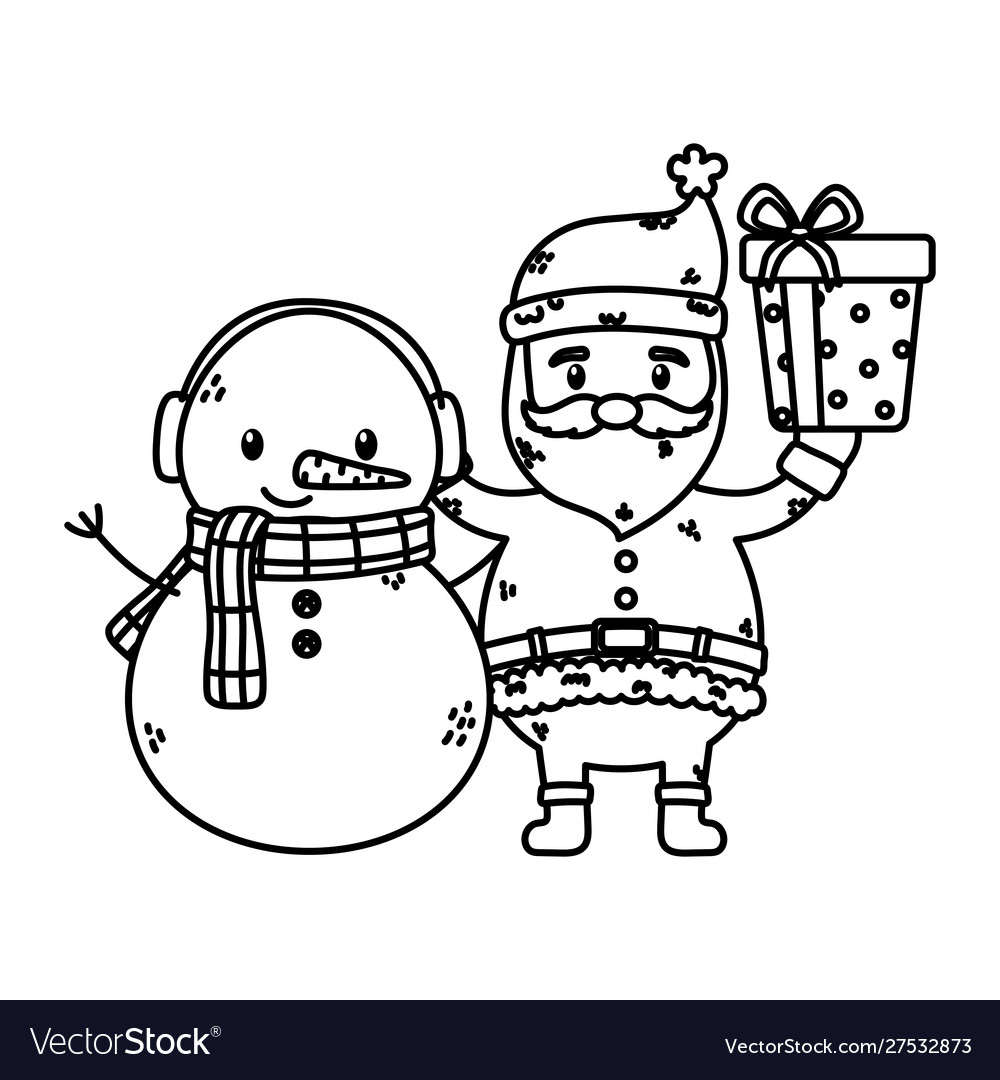 Santa and snowman with gift celebration merry