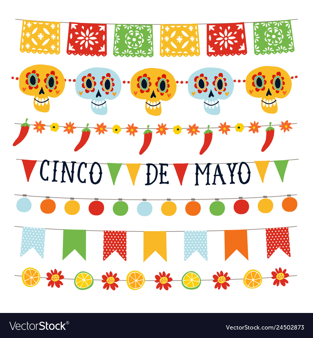 Set of cinco de mayo holiday garlands with lights