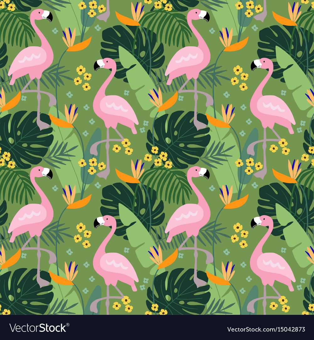 Tropical jungle seamless pattern with flamingo