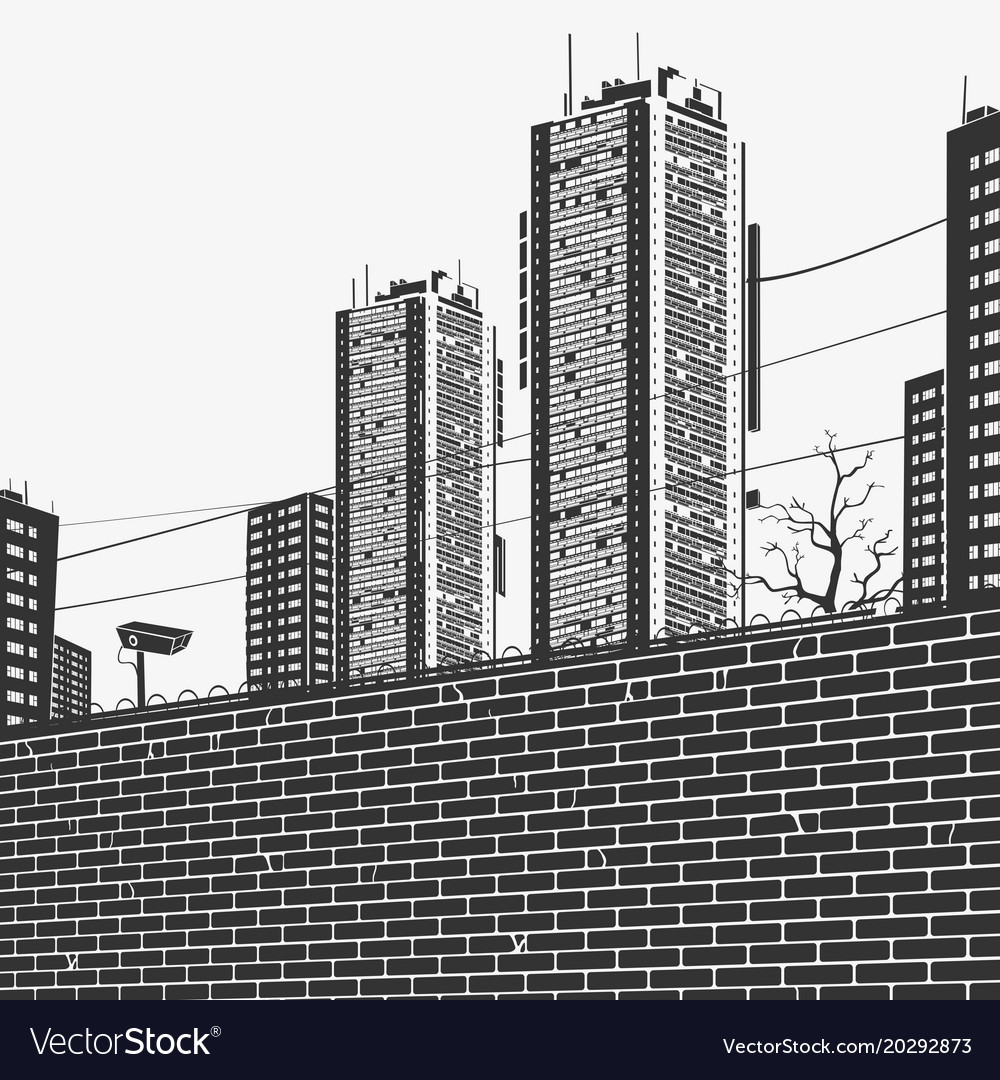 Urban panorama skyscrapers and the brick fence