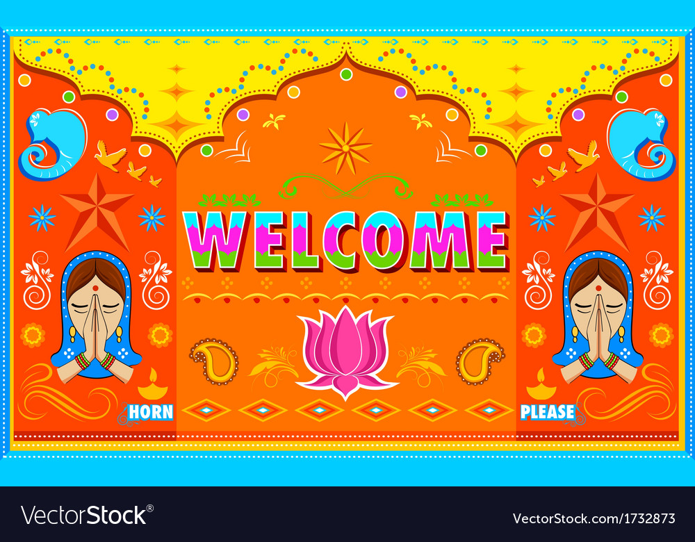 Welcome Background in Indian Truck paint style vector image