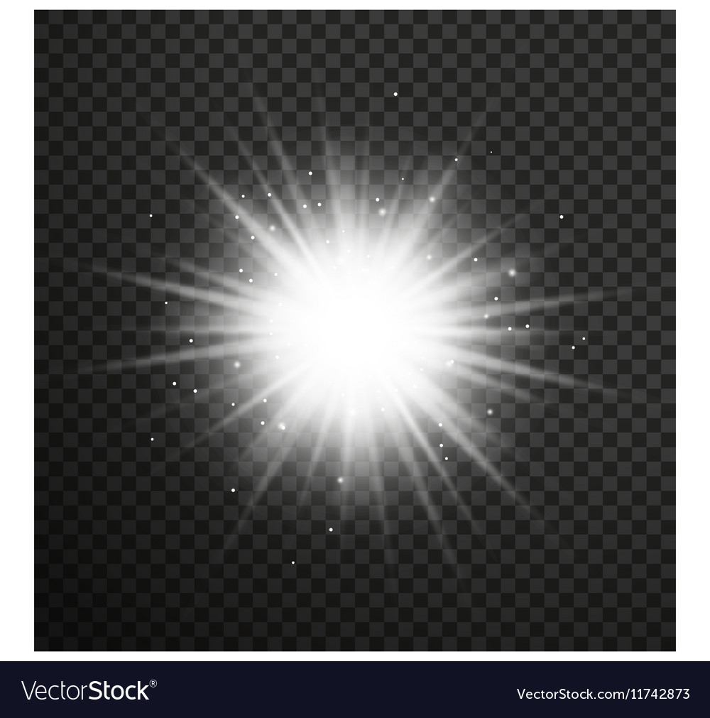 White glowing light burst with transparent